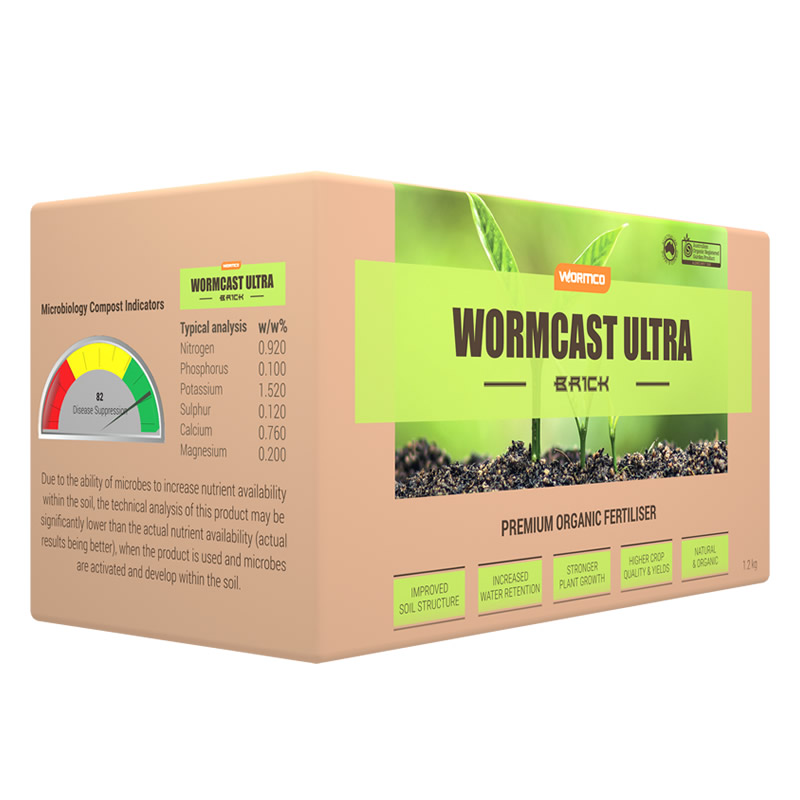 Worm fertiliser compressed brick